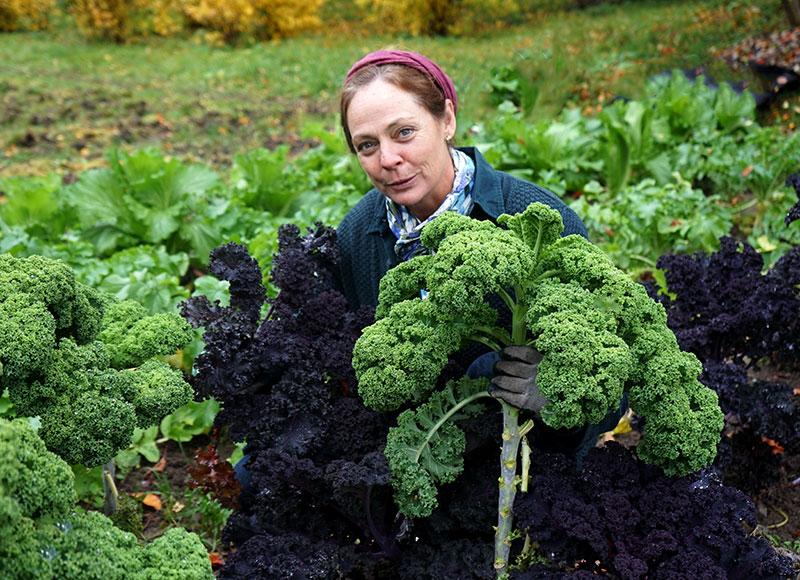 Karin Elmberg beundrar grönkålen i landet