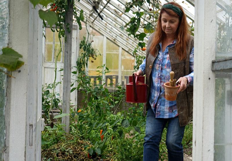 Förberedelser med växthusrekvisita vattenkanna mm