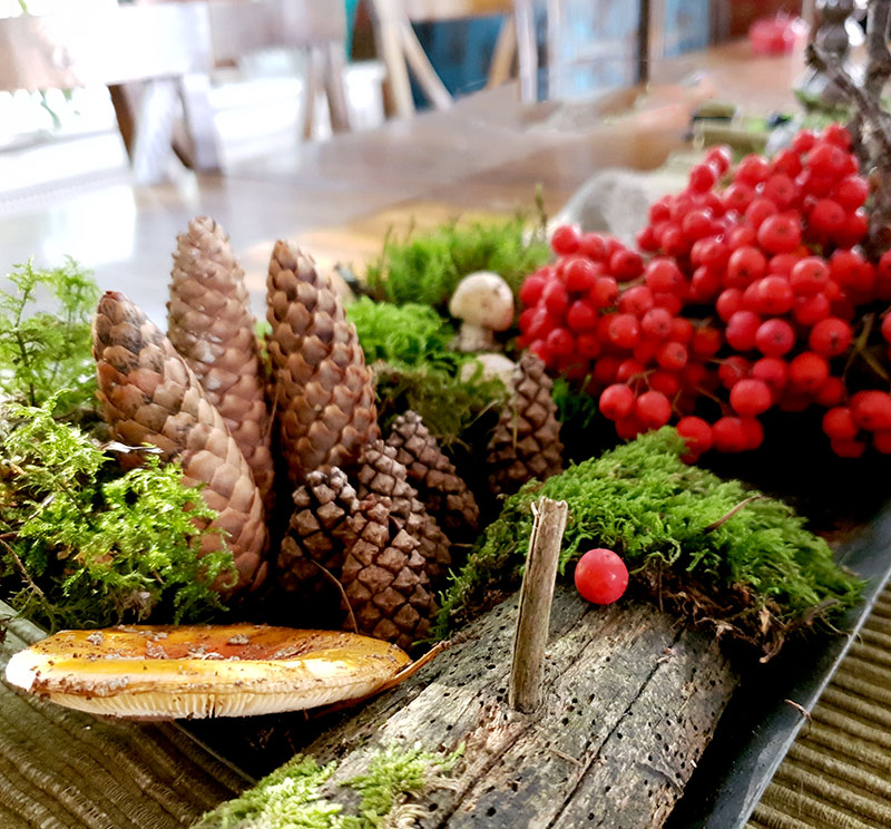 Arrangemang med växter från naturen.