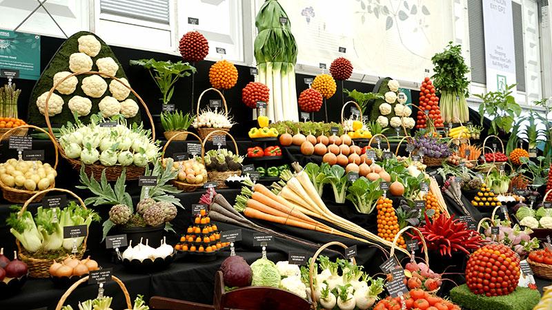 Grönsaker i utställning på Chelsea Flowershow