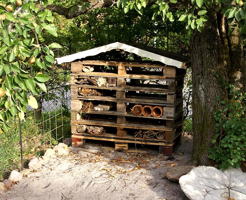 Insektshotell byggt av pallar och växtdelar