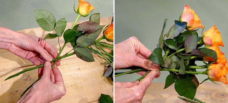 binda blommor steg för steg