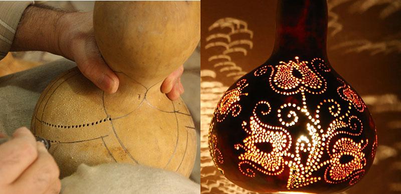 Bearbetning av kalebass till lampa