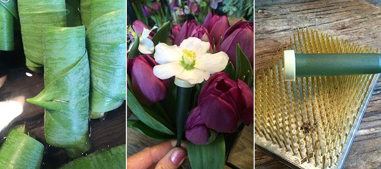 florist verktyg för buketter och arrangemang av tulpaner fakir märka blomhållare