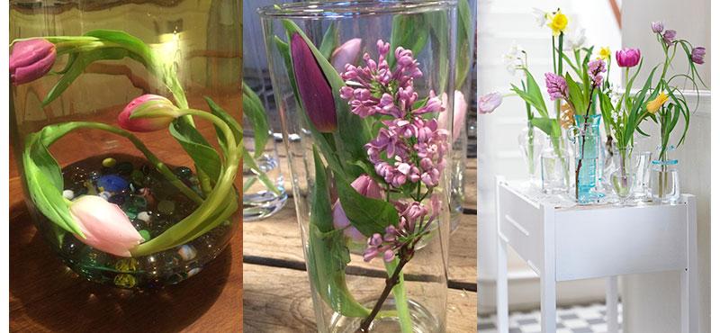 olika arrangemang med tulpaner att göra själv