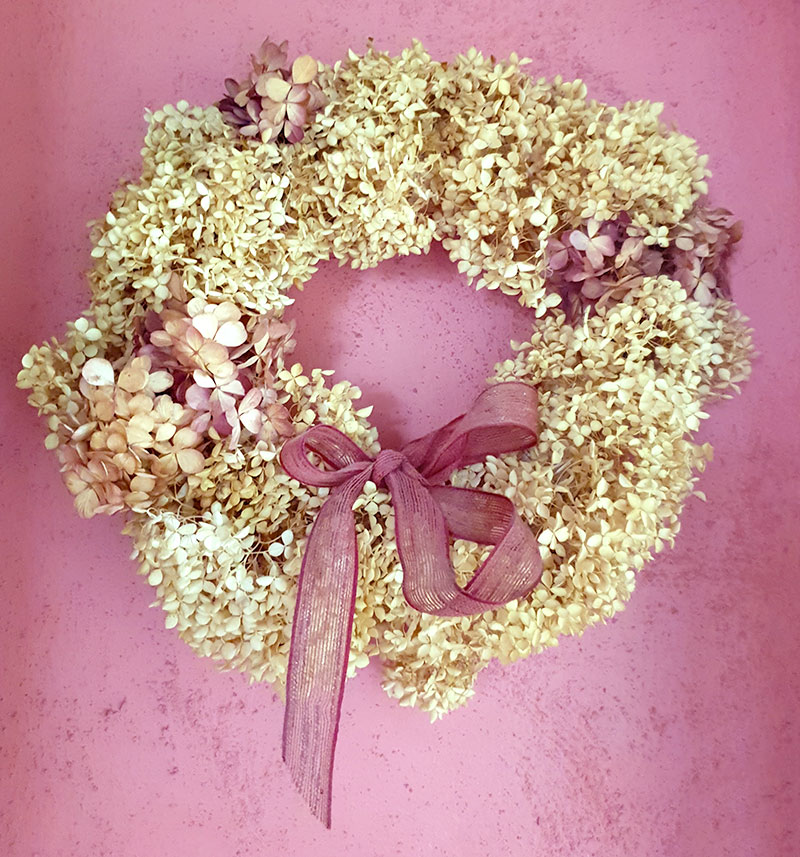 torkad krans av hortensiablommmor
