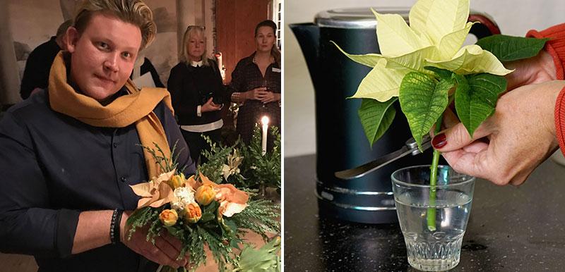 Karl-Fredrik Gustafsson binder bukett med julstjärna och trick för att snitta stjälk