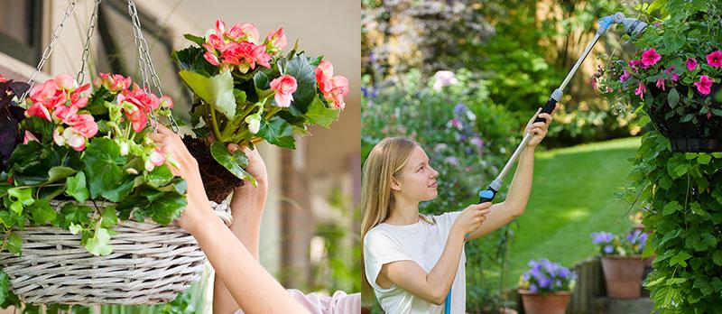 Ampel med sommarblommor och krukväxter och vattning med vattenpistol
