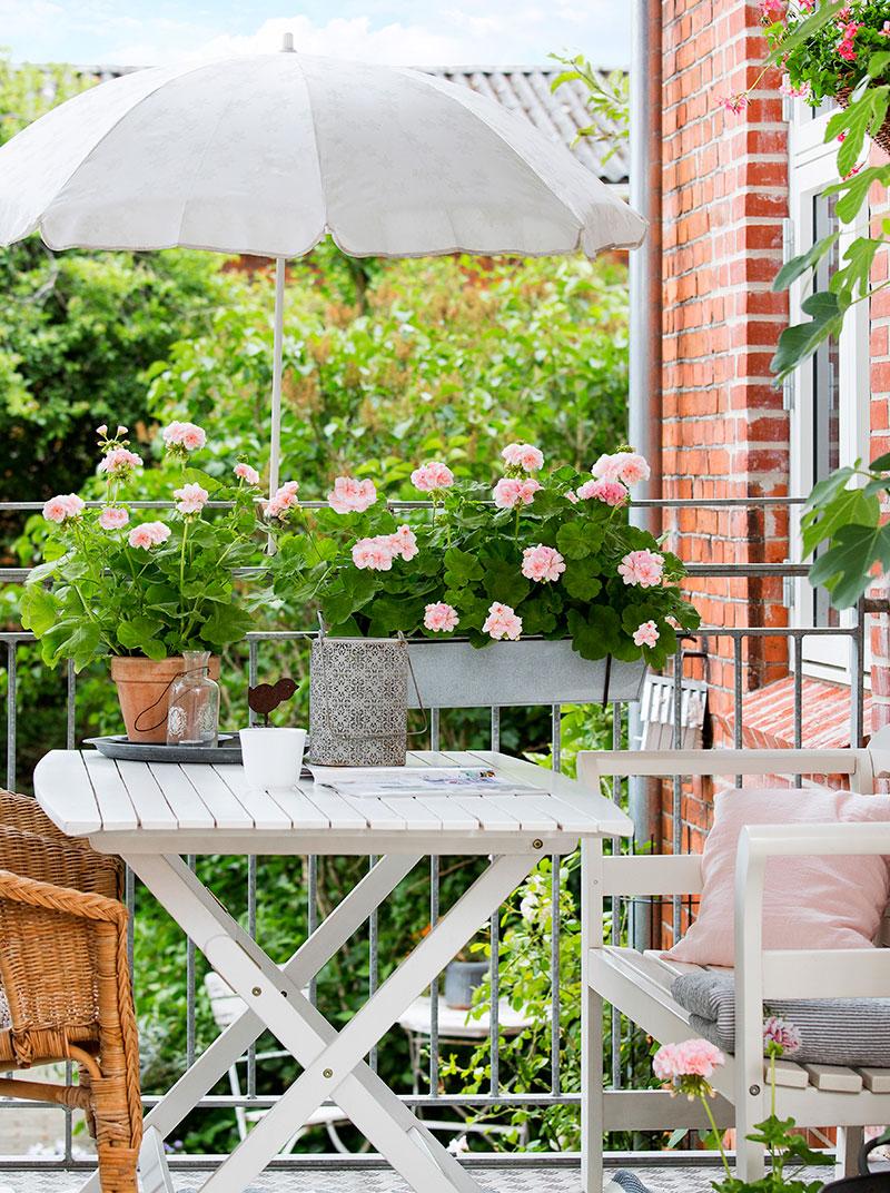 Balkong med blomsterlåda på sommaren