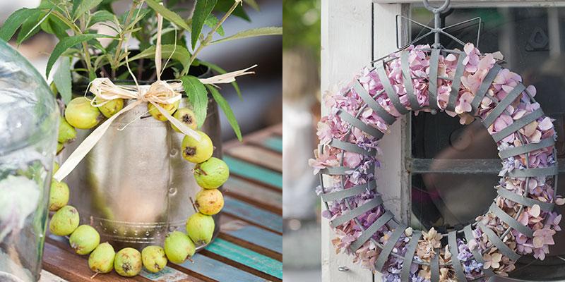 kransar av prydnadsäpplen och hortensia