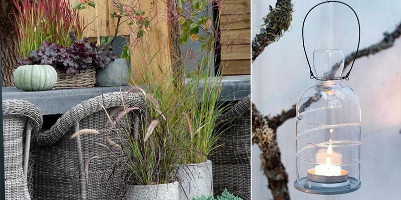 krukor med prydnadsgräs och lykta ute i oktober