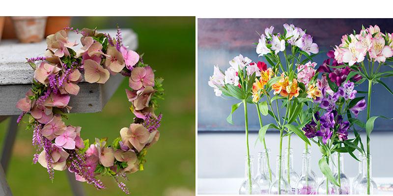 krans av hortensia och ljus och alstroemeria som snittblomma i vaser