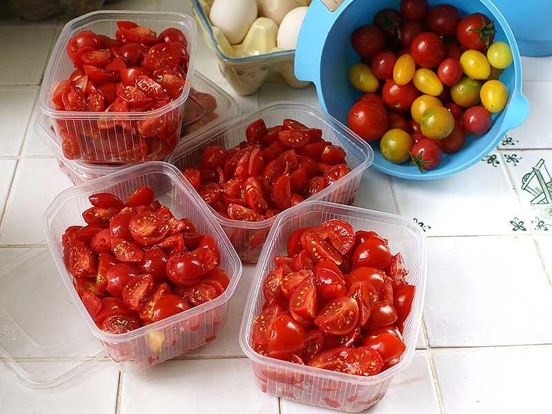 Nyskördade tomater förberedda för att frysas in