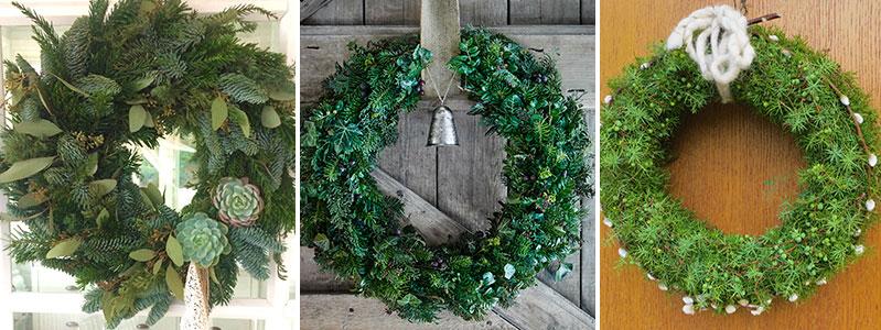 Olika adventskransar med vintergröna kvistar