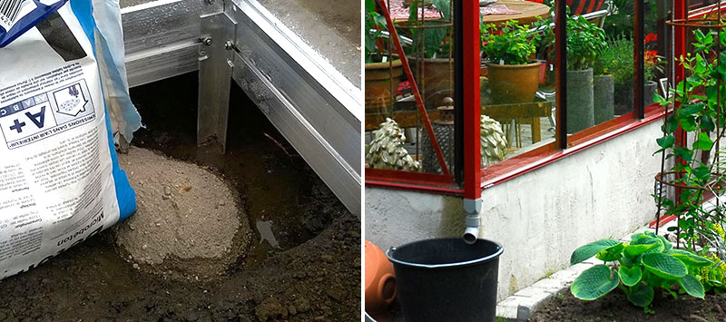 Grund till växthus med gjutning och putsade lecablock
