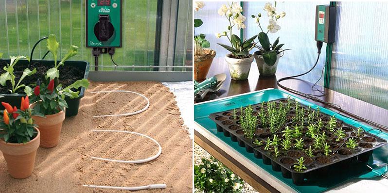 Jordvärme och värmematta för frösådd och småplantor i växthus