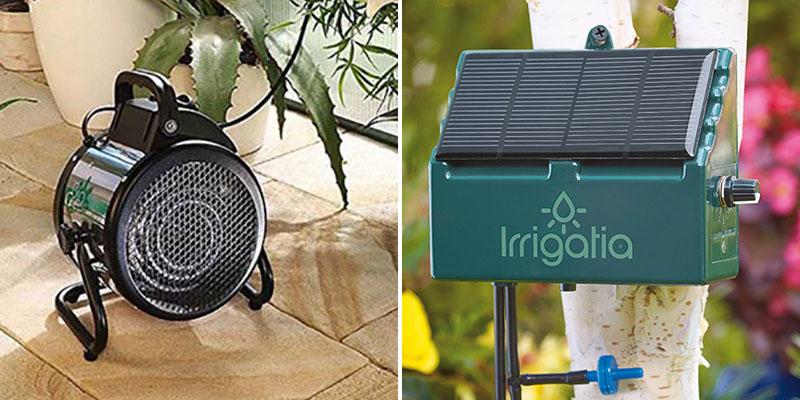 Värmefläkt och solcellsdriven automatisk bevattning Irrigatia i växthus