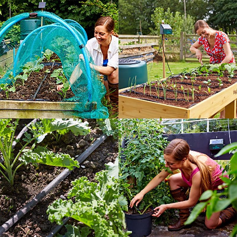 Irrigatia solcellsdriven bevattning i kökslandet och i växthuset