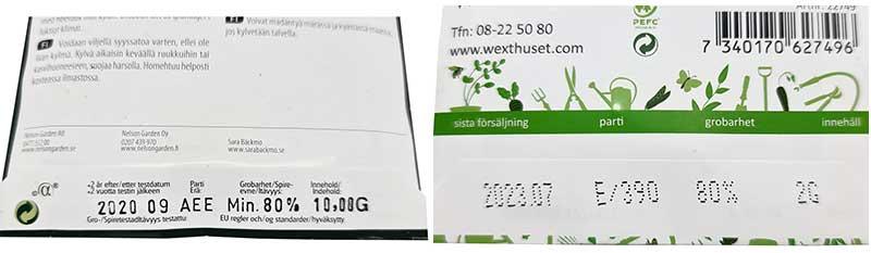 Information om grobarhet och hållbarhet på fröpåsar