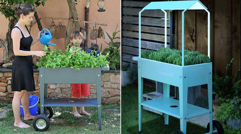 Odlingsvagn för odling inomhus och utomhus med växtlampa