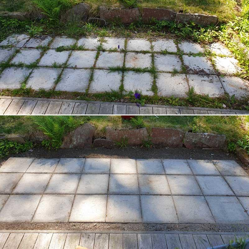 Ogräsrensning av stenplattor med rensksniv