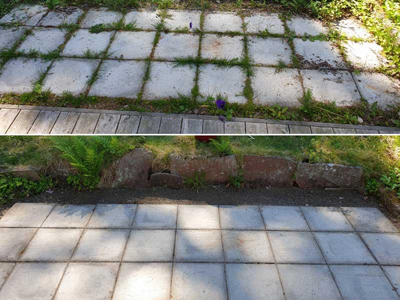 Plattläggning rensade från ogräs med renskniv. Före - efter