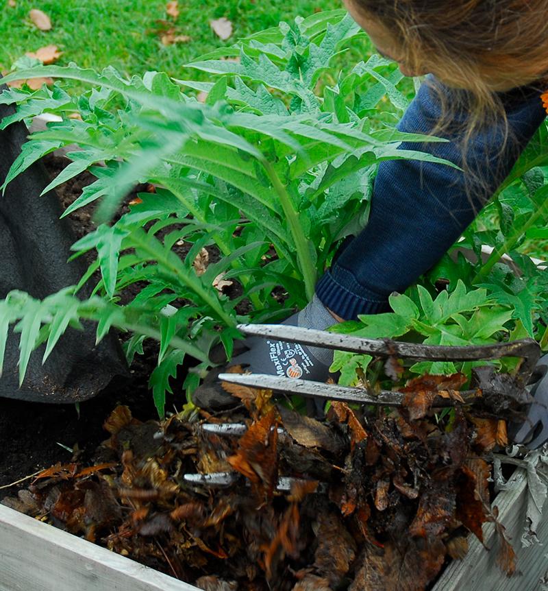 Isolerande skydd i pallkrage på hösten