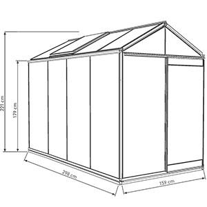 Måttskiss, växthus modell Piccolo 4