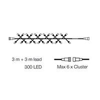 Cluster ljusslinga, 3 meter med 300 led-lampor