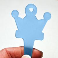 blomskylt kronformad, blå