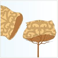 Jutesäck med dekorativt mönster för vinterskydd av växter