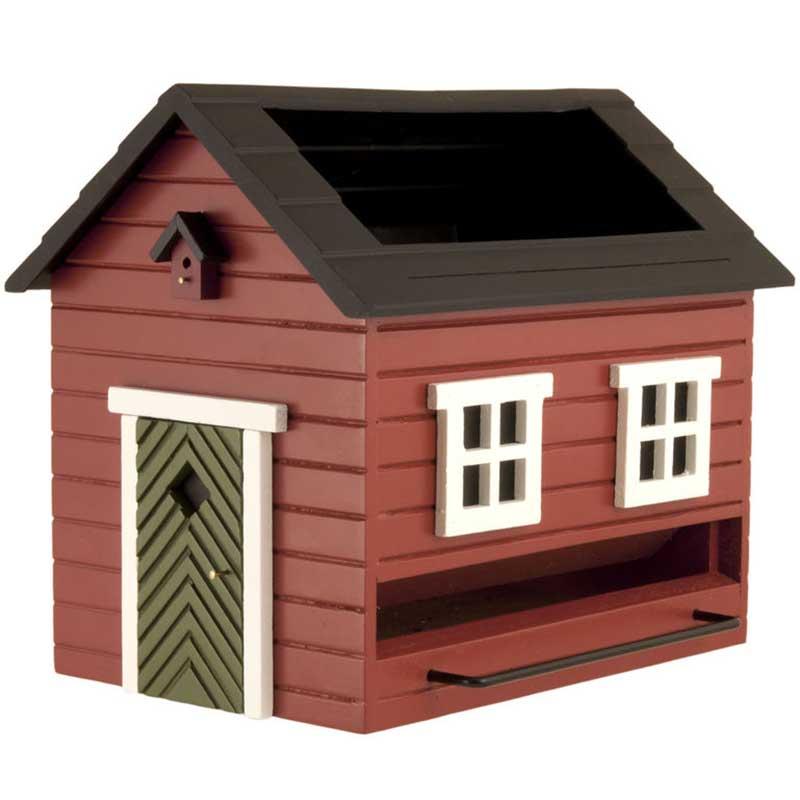 Fågelmatare Hus med bad, röd