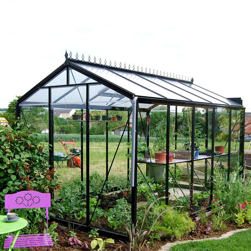 Glasväxthus Retro 8,6 i svart