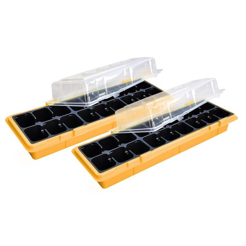 Minidrivhus för fönsterbräda, orange, 2-pack