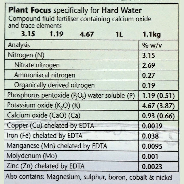 Plant Focus Hard Water, 1 liter,