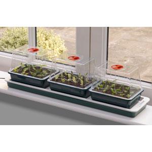 Miniväxthus 3 kupor med underv...-miniväxthus för fönsterbrädan med undervärme