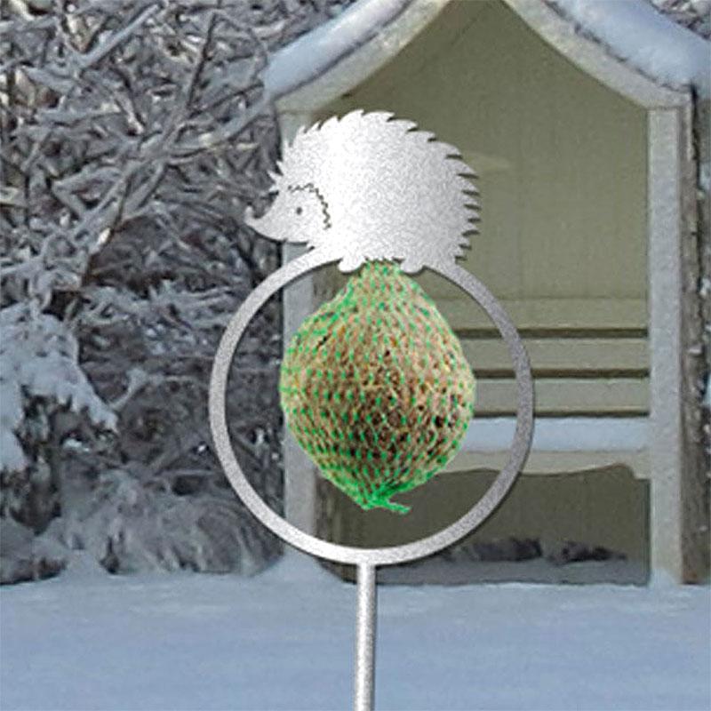 Fågelmatare - dekorativ hållare för talgboll igelkott grå