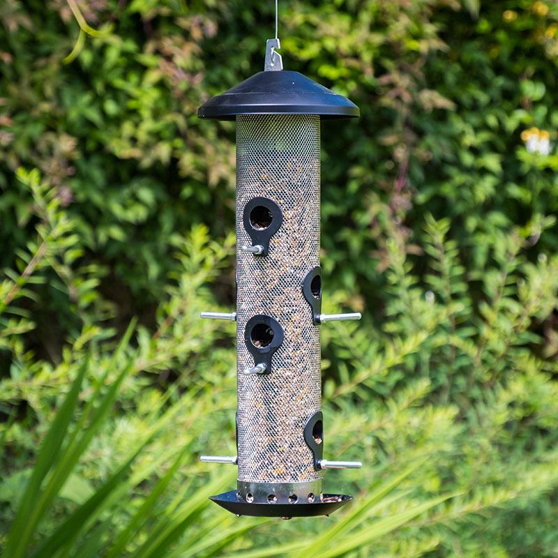 Fågelmatare med stålnät för fågelfrön, stor