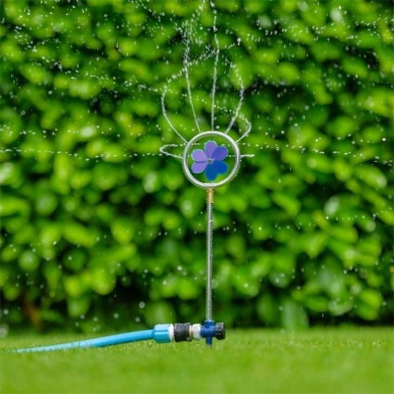 Flopro dekorativ roterande sprinkler med blommotiv - blå