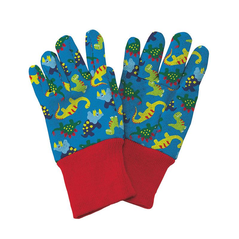 Trädgårdshandskar för barn Dinosaurie, blå