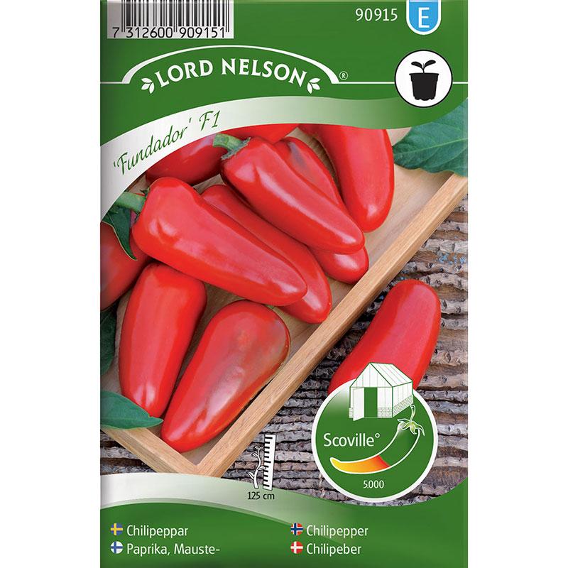 Frö till Chilipeppar, Capsicum annuum 'Fundador' F1