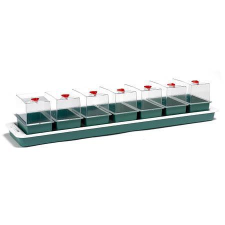 Miniväxthus med undervärme för fönsterbrädan - 7 kupor,