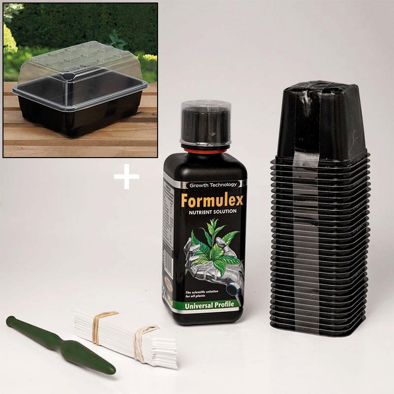 Odlingspaket med miniväxthus, såkrukor, näring, prickelpinne och etiketter