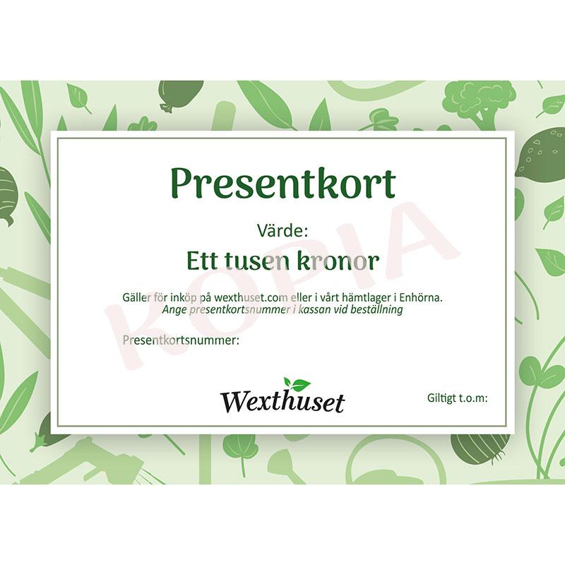 Presentkort via E-post 1000kr