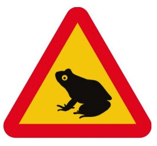 Varningsskylt grodor