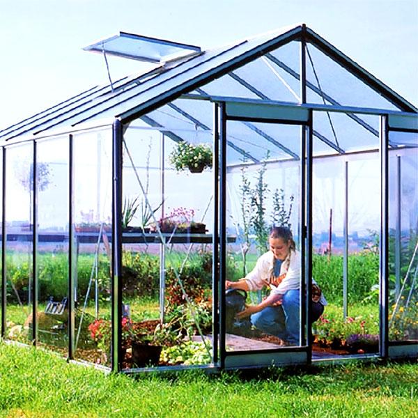 Hobbyväxthus expert Plus i aluminium med säkerhetsglas