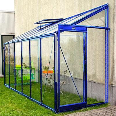Väggväxthus i aluminium lackat i färg blå