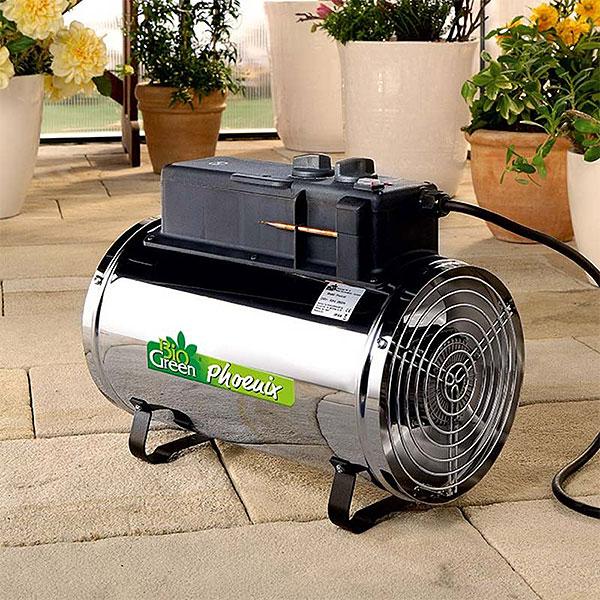 Uppvärmning av växthus med fläktar och ventilation