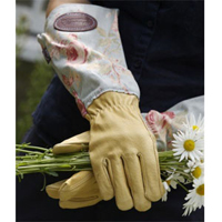 Handskar i skinn med vaxat linne - blå-
