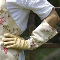 Handskar i skinn med vaxat linne - Creme-